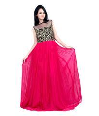 Pink Color Georgette Embroidered Designer Gown_