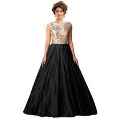 Black Colour Embroidered Benglori Silk Designer Goun