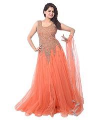 Orange Color Net Embroidred Designer Gown_KDN238