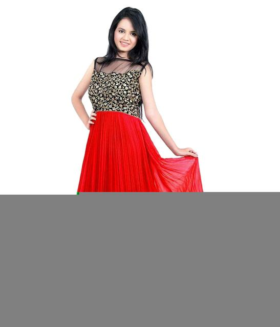 Red Color Georgette Embroidered Designer Gown_