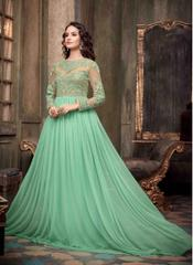 Light Green Color Embroidered Designer Goun