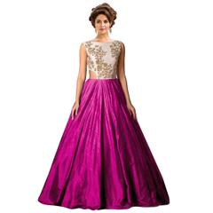 Pink Colour Embroidered Benglori Silk Designer Goun