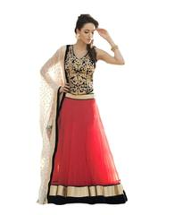 Black & Red Net Embroidered Lehenga Choli_KDN009