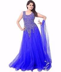 Blue Color Net Embroidred Designer Gown_KDN244