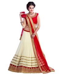 Cream Georgette Designer Wedding Lehenga Choli
