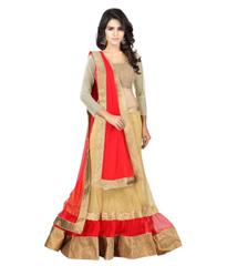 Beige And Red Color Net Designer Lehenga Choli