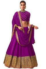 Purple Color Embroidred Benglori lahenga choli