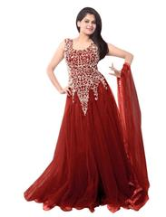 Maroon Color Net Embroidred Designer Gown_KDN246