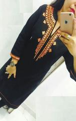 Black Color Georgette Semi sticched Embroidered Kurti