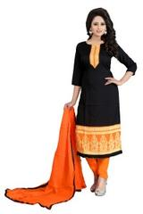 Black Color Printed Dress Materials