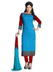 Blue Color Cotton Printed Dress Materials