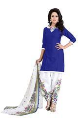Blue Color Faux Cotton  Printed Dress Materials