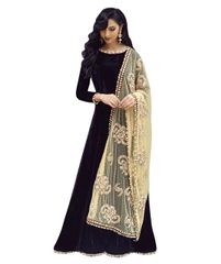 Black Color Benglori Silk Semi sticched Salwar Suit