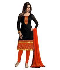 Kaladin Black Chanderi Embroidred Dress Material_KDN014