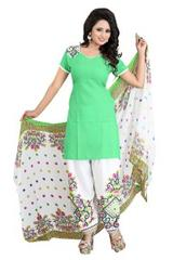 Green Color Printed Dress Materials