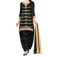 Black Color Cotton Embroidred Dress Material_KDN040