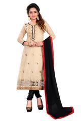 Beige Color Designer Embroidered Chanderi Dress Materials