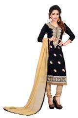 Black Color Embroidered Chanderi Self Design Dress Materials