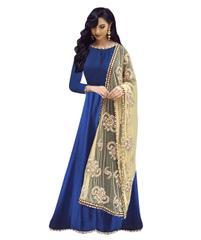 Blue Color Benglori Silk Semi sticched Salwar Suit