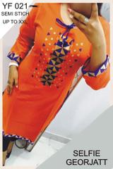 Orange Color Semi-Sticched Designer Georgette Embroidered Plain Kurti