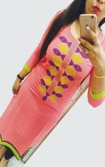Pink Color Semi-Sticched Designer Georgette Embroidered Kurti