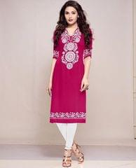Pink Color Semi-Sticched Polyster Cotton Printed Kurti