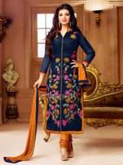 Navy Blue Color Faux Cotton Printed Dress Materials
