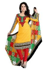 Orange And Yellow Color Printed Dress Materials