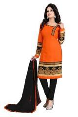 Orange Color Embroidered Dress Materials