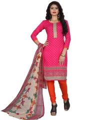 Pink Color Printed Dress Materials