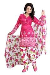 Pink Color Printed Dress Materials