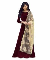 Maroon Color Benglori Silk Semi sticched Salwar Suit