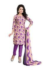 Purple Color Printed Dress Materials