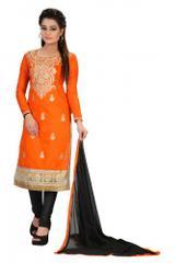 Orange Color Self Designer Embroidered Chanderi Dress Materials