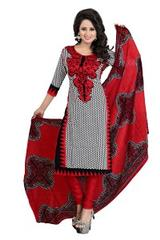 Red And Black Color Printed Dress Materials
