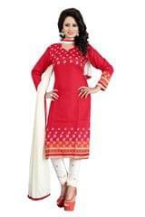 Red Color Printed Dress Materials