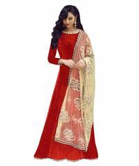 Red Color Benglori Silk Semi sticched Salwar Suit