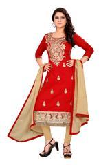 Red Color Embroidered designer Chanderi Dress Materials