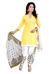 Yellow Color Printed Dress Materials
