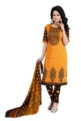 Yellow Color Printed Dress Materials