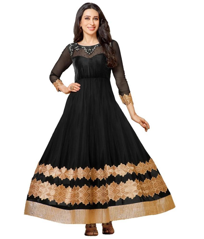 Kaladin Black Georgette Embroidred Dress Material_KDN054