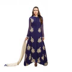 Kaladin Blue Georgette Embroidred Dress Material_KDN033
