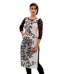 White Color Georgette Printed Desginer Kurti_KDN269