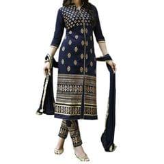 Kaladin Blue Georgette Embroidred Dress Material_KDN032