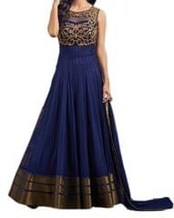 Kaladin Blue SoftNet Embroidred Dress Material_KDN037