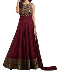 Maroon SoftNet Embroidred Dress Material_KDN038