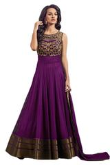 Purple Color Soft Net Embroidred Dress Material_