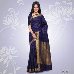 Navy Blue Colored Balatan Silk Woven Work Saree