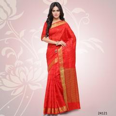 Orange Colored Balatan Silk Woven Work Saree