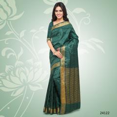 Dark Turquoise Colored Balatan Silk Woven Work Saree